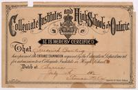 Certificate from collegiate institutes and high schools of Ontario