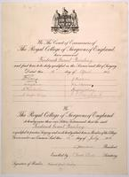 F. G. Banting's certificate of membership in the Royal College of Surgeons of England