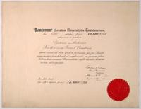 Certificate from the University of Toronto granting F. G. Banting the degree of M.D.