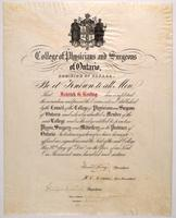 F. G. Banting's certificate of membership in the College of Physicians and Surgeons of Ontario