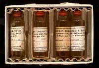 Package of 5 ten c.c. vials of insulin