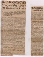 Dr. J. B. Collip tells story of discovery of diabetes cure