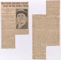 Macleod awards Collip half of his Nobel Prize