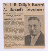Dr. J. B. Collip is honored at Harvard's tercentenary