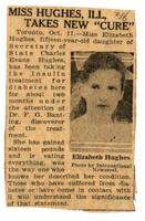 Miss Hughes, ill, takes new 'cure'