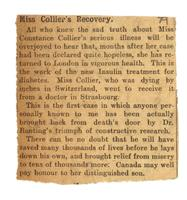 Miss Collier's recovery