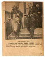 Photograph of Dr. and Mrs. Banting after their wedding with caption