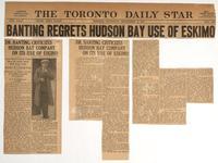 Banting regrets Hudson Bay use of Eskimo