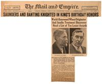 Saunders and Banting knighted in King's birthday honors