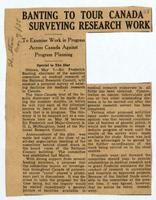 Banting to tour Canada surveying research work