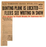 Banting plane is located fliers see writing in snow