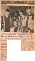 Banting insulin saved me -- Mayo M.D.