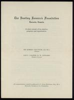 The Banting Foundation: a short resumé of its creation, purposes and organization