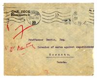 Envelope addressed to Proffessor Bentin, Esq inventor of serum against sugardisease