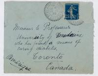 Envelope addressed to monsieur le professeur, University of Medicine, who has found a means of curing diabetis