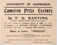 Notice for Banting's Cameron Prize Lecture