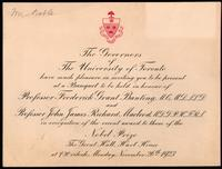 Invitation to banquet held in honour of F. G. Banting and J. J. R. Macleod