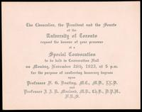 Invitation to a special convocation 26/11/1923