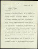 Letter to Dr. J. B. Collip, Dept. of Physiology, University of Alberta 18/09/1922