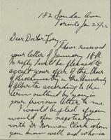 Letter to Doctor Tory 25/01/1922