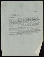 Letter to Dr. Morton Ryder 11/09/1922