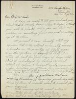 F. G. Banting's draft of letter to J.J.R. Macleod 09/08/1921