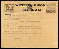 Telegram to Dr Elliott P. Joslin 26/10/1923