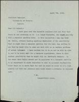 Letter to President Falconer 7/04/1921