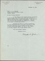 Letter to Prof. J. J. R. Macleod 19/11/1921