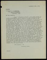 Letter to Professor A. B. Macallum 14/09/1922