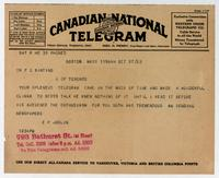 Telegram to Dr. F. G. Banting 27/10/1923