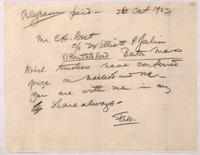 Draft of telegram to C. H. Best 26/10/1923