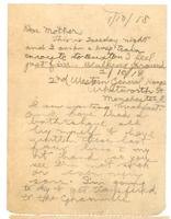 Letter to dear mother 1/10/1918