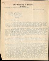 Letter to Professor J. J. R. Macleod 23/11/1923