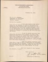 Letter to Dr. J. J. R. Macleod 22/11/1923