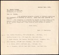 Letter to Dr. Duncan Graham 31/10/1922