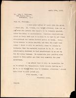 Letter to Dr. John R. Williams 17/04/1923