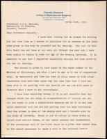 Letter to Professor J. J. R. Macleod 21/04/1923