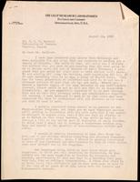 Letter to Dr. J. J. R. Macleod 15/08/1923