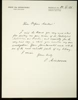 Letter to Professor Macleod 22/06/1926