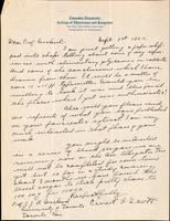 Letter to Prof. Macleod 1/09/1922