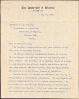 Letter to Professor J. J. R. Macleod 18/05/1923