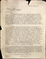 Letter to Professor A. Krogh 15/01/1924