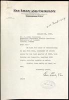 Letter to F. Lorne Hutchison with statements of Iletin sales for the last quarter of 1924