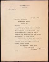 Letter to the Insulin Committee 29/04/1923