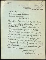 Letter forwarded to the Insulin Committee by R. Defries 20/03/1923
