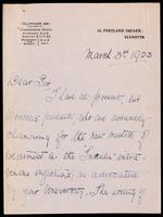 Letter to the Insulin Committee 3/03/1923