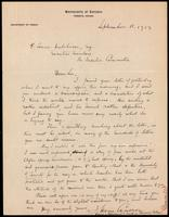 Letter to Lorne Hutchison 11/09/1923