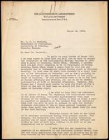 Letter to Dr. J. J. R. Macleod 14/03/1923