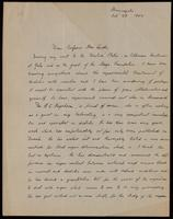 Letter to Professor Macleod 23/10/1922